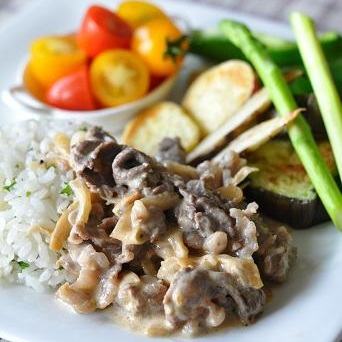 熊本とっぺん野菜&乾燥玉ねぎのビーフストロガノフ 熊本野菜添え