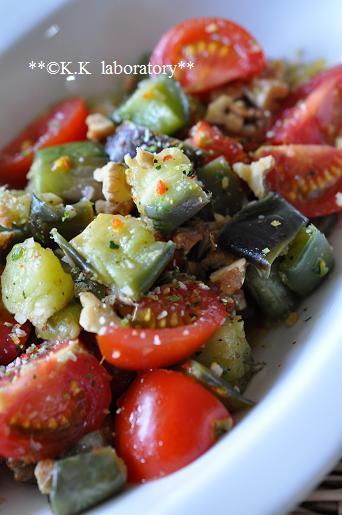 ふりかける野菜と赤なすのひんやりサラダ