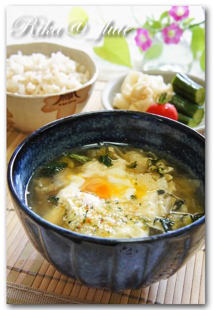 しゃきしゃきお野菜と玉子の朝味噌汁