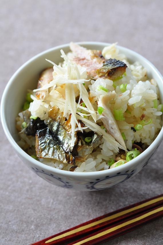 野菜だしで炊く秋刀魚ご飯